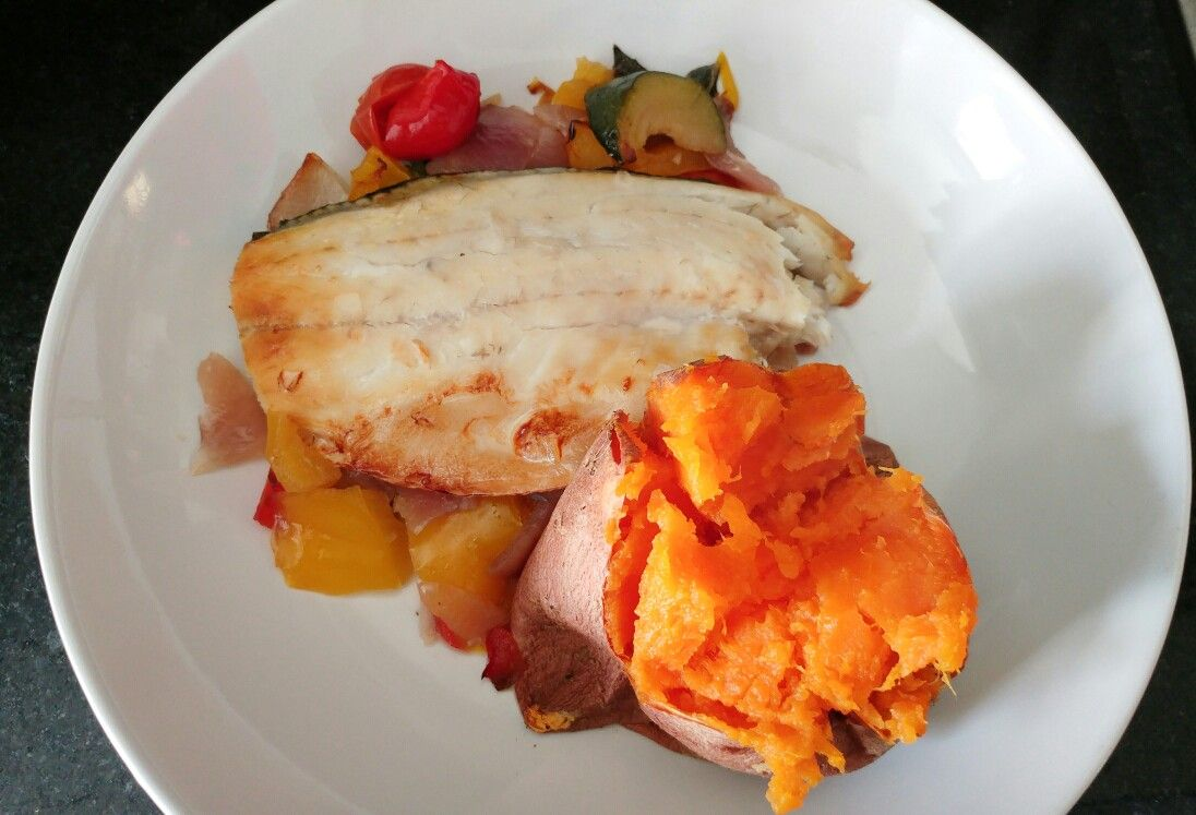Seabass with roasted vegetables and sweet potato