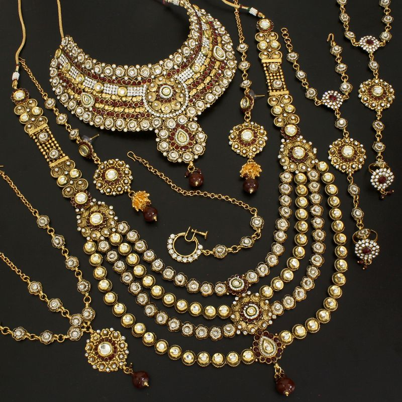 Indian Jewellery And Clothing Polki Necklace Sets From: Diamond Polki 3 Layer Mroon Bridal Necklace @ Indiatrend