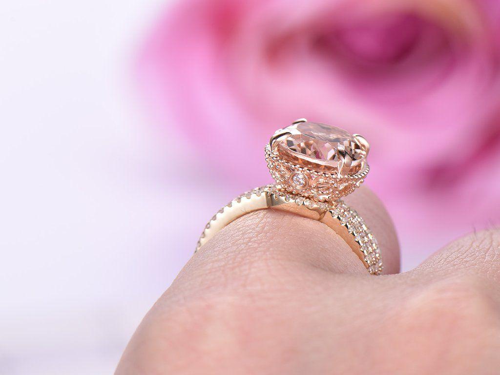Oval Morganite Engagement Ring Sets Pave Diamond Wedding 14K Rose ...