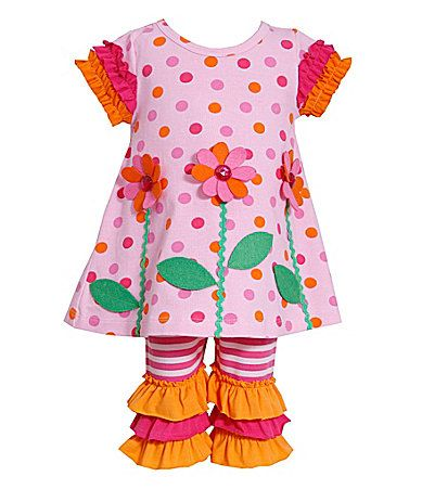 Bonnie Baby 324 Months FlowerAppliqued Dotted Dress and Striped Pant Set #Dillards