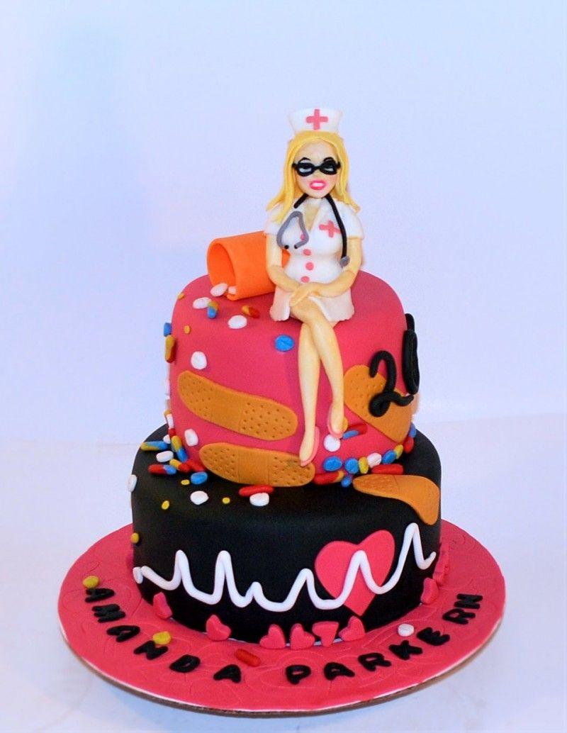 Fondant Decorated Rn Nurse Graduation Cake Fondant Woman Nurse On