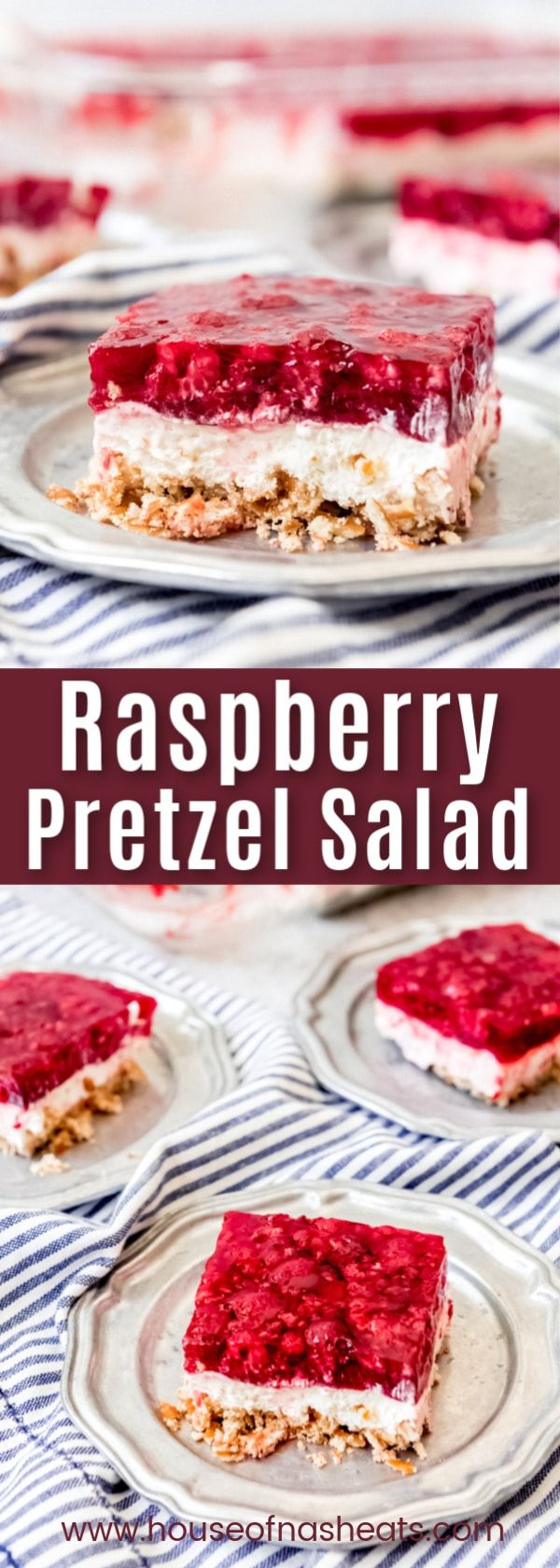 Raspberry Pretzel Salad Everybody loves this irresistible Raspberry Pretzel Salad recipe with it's salty-sweet combo of crunchy pretzel crust, creamy cool whip and cream cheese filling, and sweet-tart raspberry Jello top!  It's a summertime and holiday favorite!