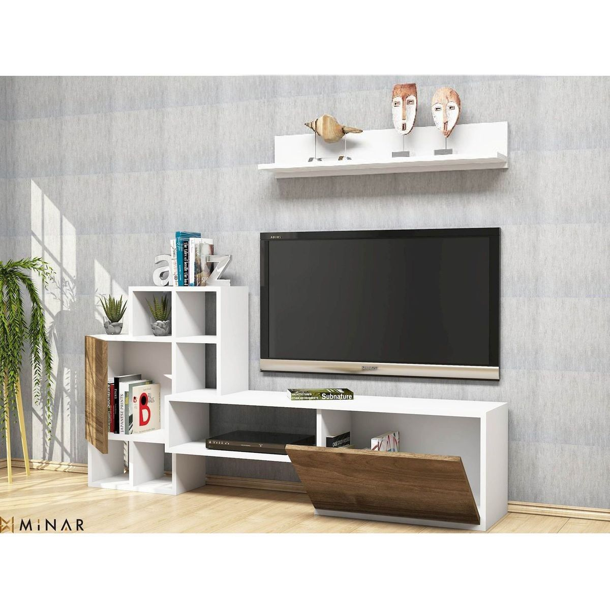 Meuble Tv Avec Etagere Rinaldo 160 X 78 Cm Blanc Et Beige Taille Tu Entertainment Unit Tv Unit Design Storage Spaces