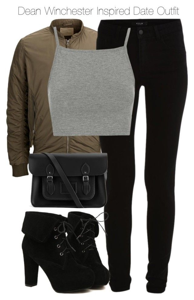 """""""Dean Winchester Inspired Date Outfit"""" by staystronng ❤ liked on Polyvore featuring SELECTED, VILA, Topshop, TURNOVER, The Cambridge Satchel Company, date, DeanWinchester and spn"""