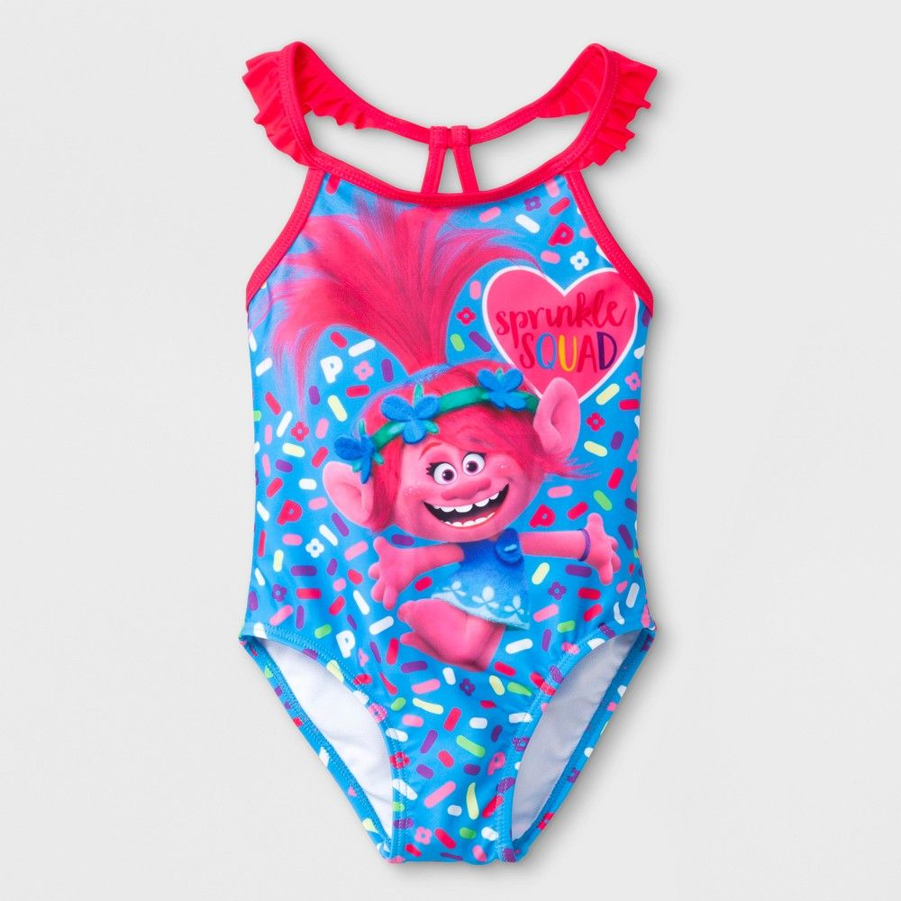 6072061173 Toddler Girls' Trolls Poppy One Piece Swimsuit - Blue 2T | Products