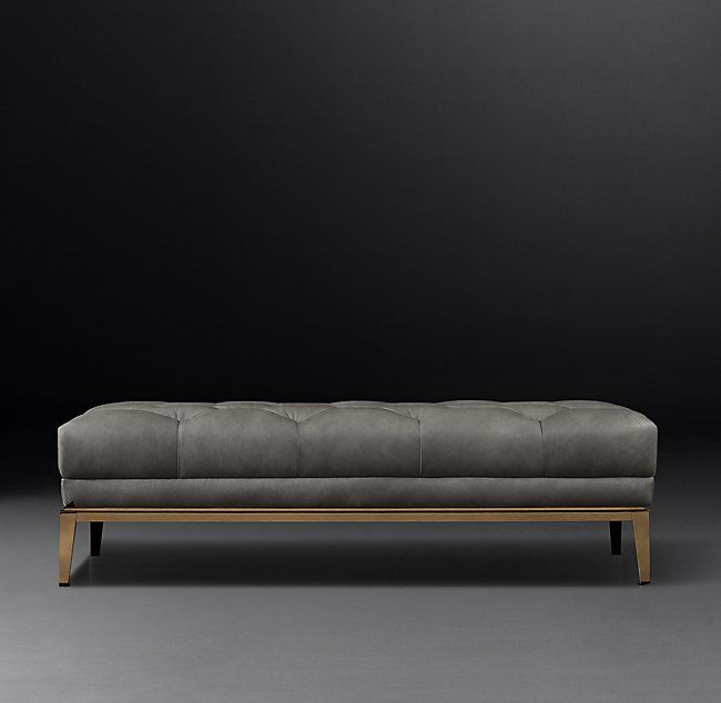 Italia Chesterfield Leather Coffee Ottoman With Tufted