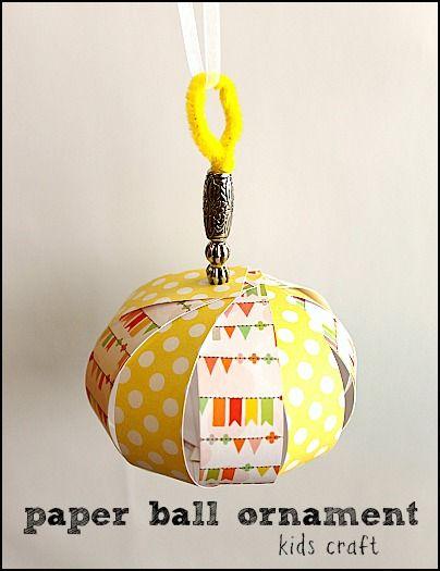 Paper Ball Ornament #kids #craft #christmas