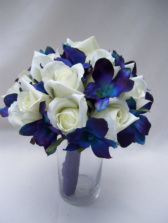 Jennifer's Bridal Bouquet with Blue Violet Dendrobium ...