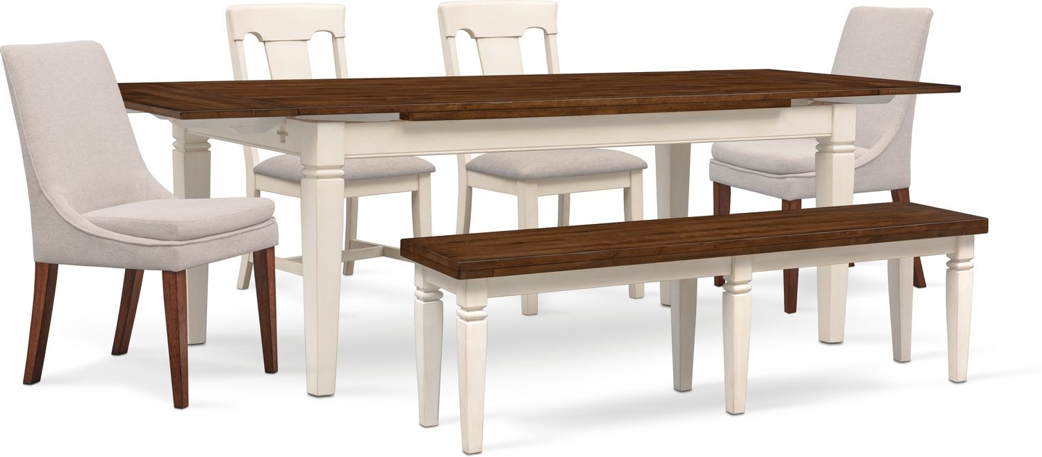 Adler Dining Table 2 Side Chairs 2 Upholstered Side Chairs And