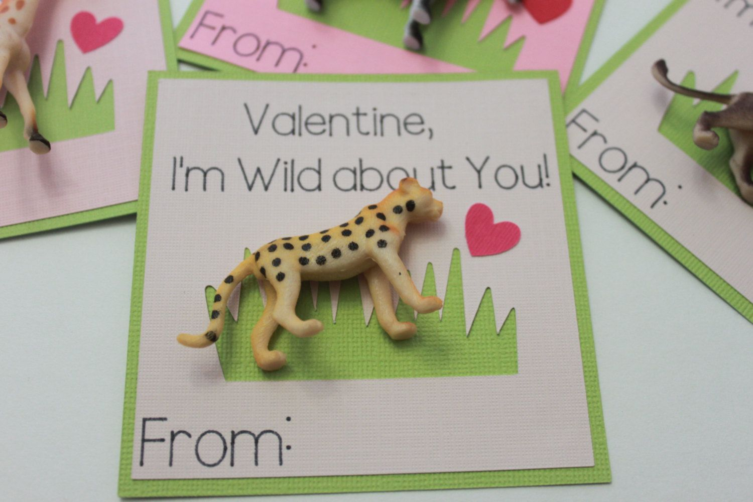 I am Wild About You! Valentines Day Cards- Set of 20  Each card features a removable plastic safari animal. The words are drawn by a die cut machine with a permanent black marker. These cards are my original design. Measure 3.75 inches tall and 3.75 inches wide. Includes 20 cards, 20 safari animals, and 20 removable glue dots. Simply adhere the eraser to the cards when your package arrives.  Need a different amount? Please check with me for availability. Questions? Please ask