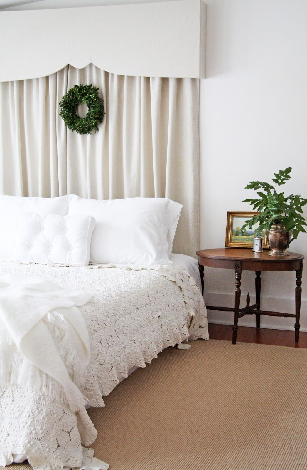 Bed head against window  pelmet u bedcover  for the home  pinterest  country farmhouse