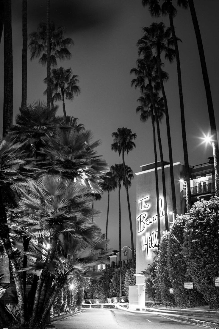 Photo of Beverley Hill Hotel Los Angeles California Black and White Canvas Print Metal Art Cityscape Landmark