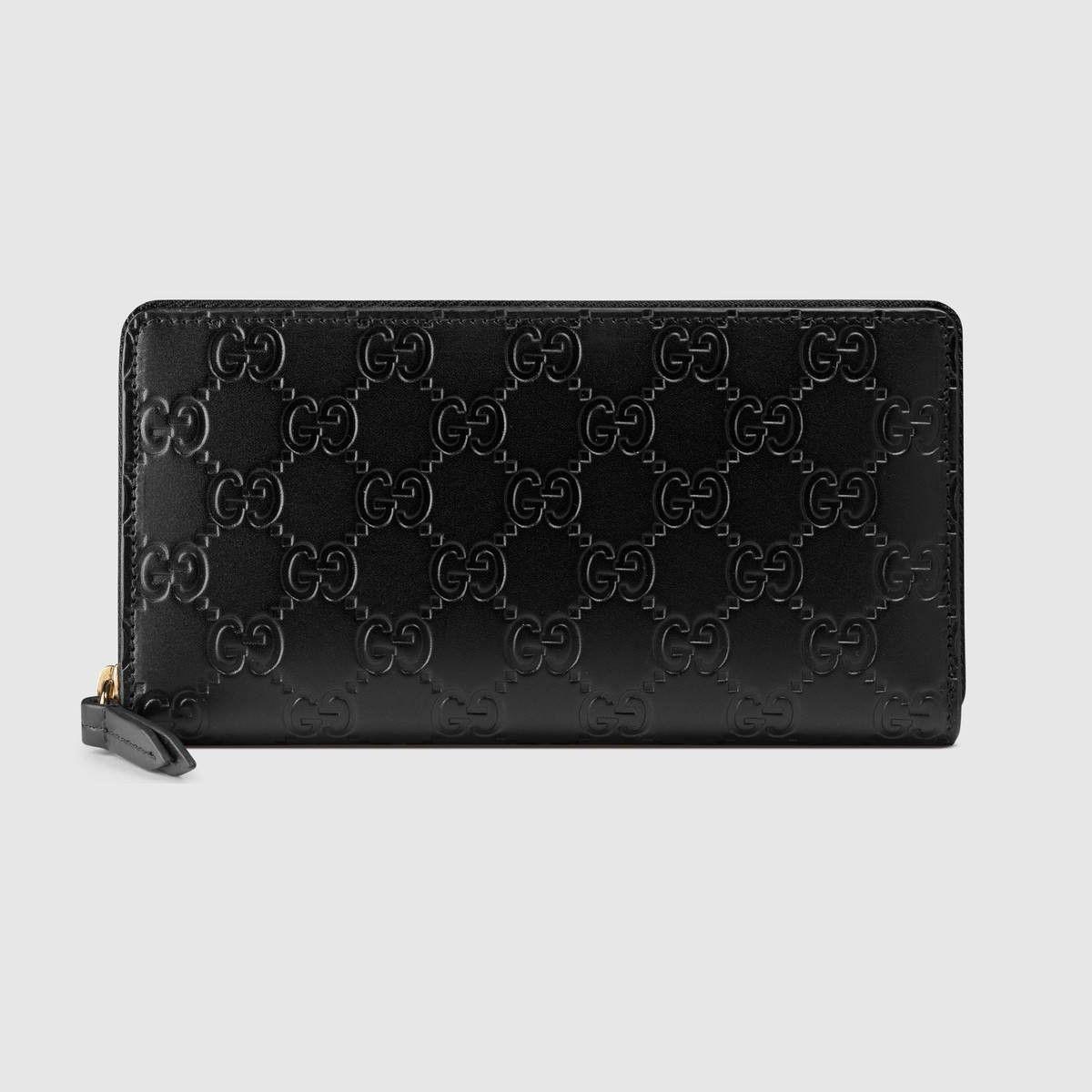 Gucci gucci signature zip around wallet black gucci