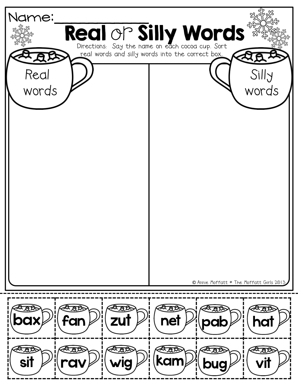 Real Or Silly Words Cut And Paste Great For Practicing Decoding Skills With Simple Cvc Words