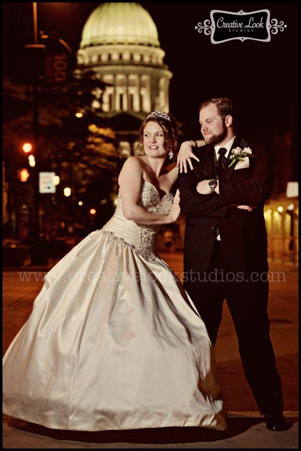 madison wi state street night wedding portrait