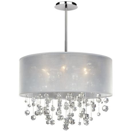 Crystal Chandelier With Sheer Drum Shade Chandeliers Design – White Drum Shade Chandelier