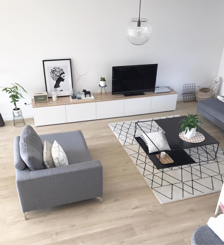 Salon moderne scandinave tapis berbere meuble besta ikea