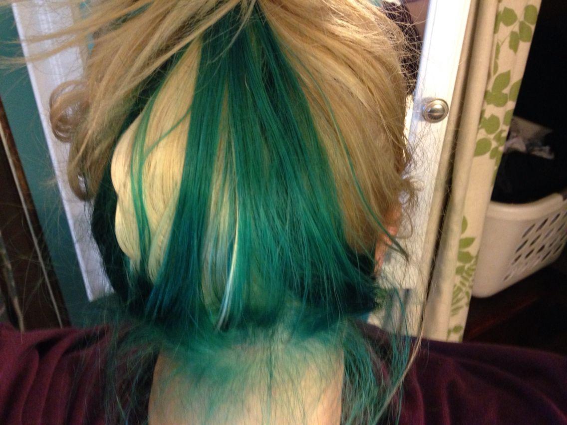 Platinum Blonde Mermaid Teal Underneath Color Dyed Hair Peek A Boo Dyed Hair Hair Color Underneath Teal Hair