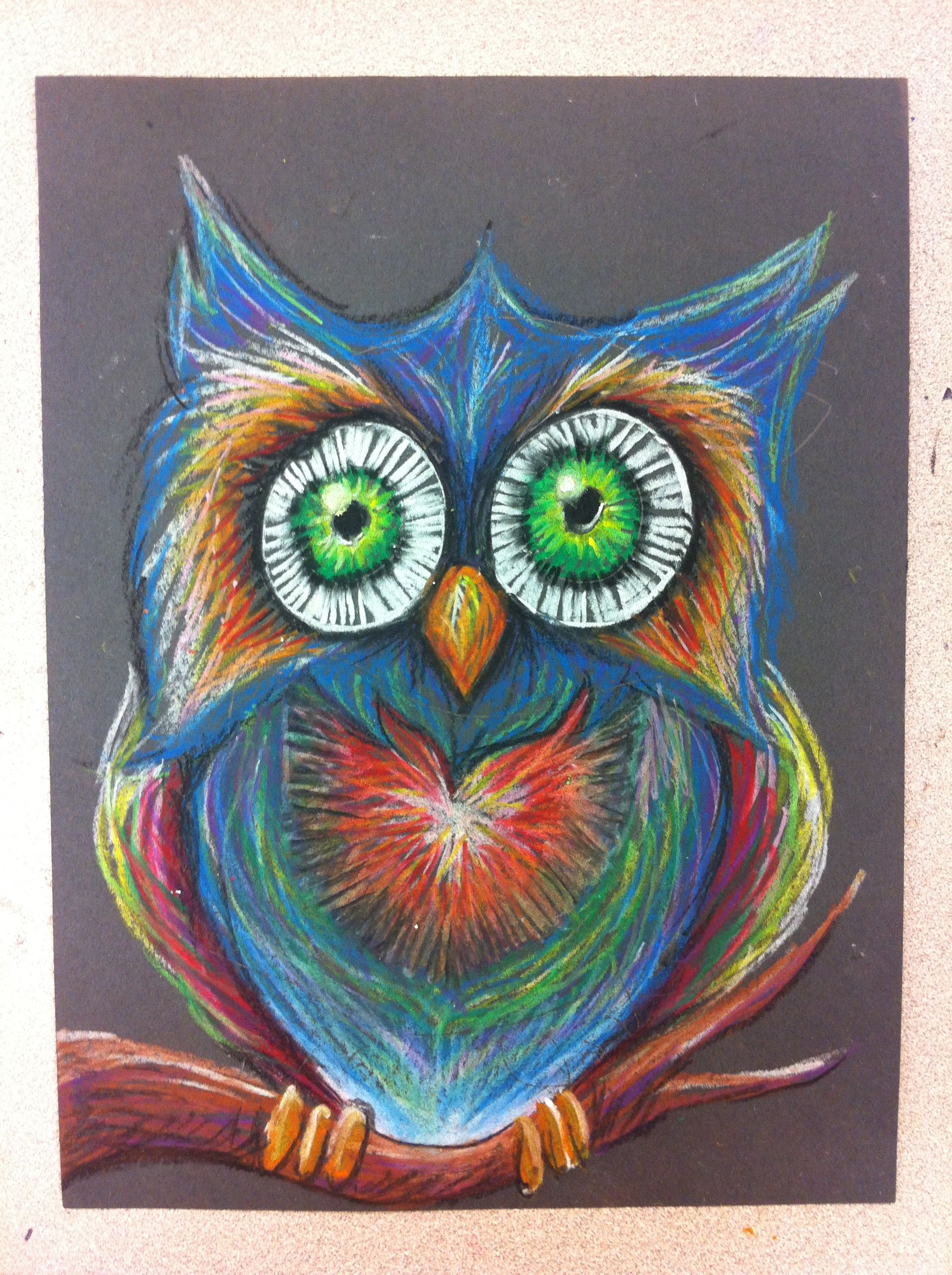 Mr. Owl with Oil Pastel on construction paper   Pastels <3 ...
