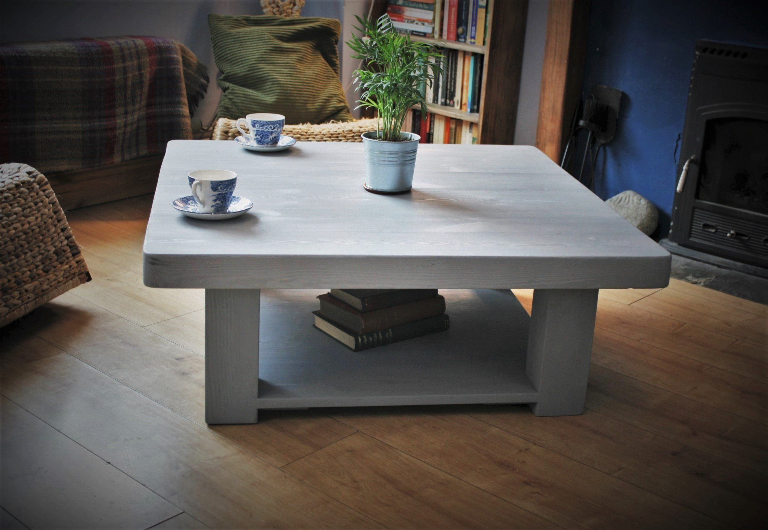 Large Low Coffee Table Solid Wood Painted In A Grey Wash 100 Cm