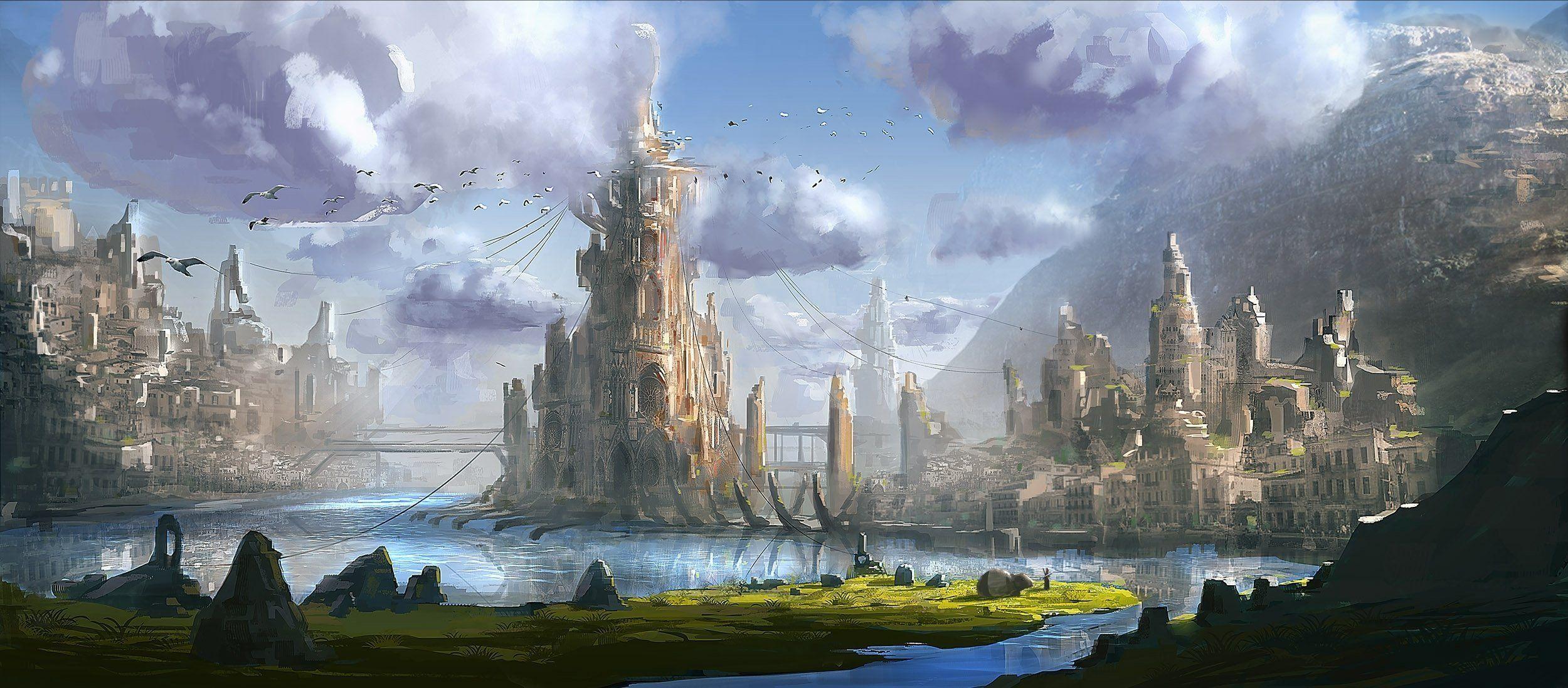 Art Town Fantasy World Water Mountain Bridge Tower Hd Wallpaper Fantasy Landscape Fantasy City Fantasy Castle
