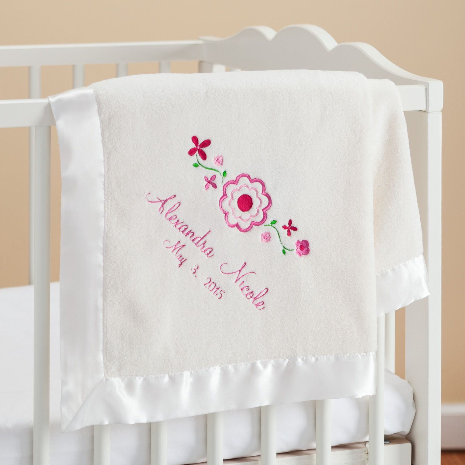 Pretty Flowers Personalized Cream Baby Blanket - Newborn - Baby | Personalized Planet