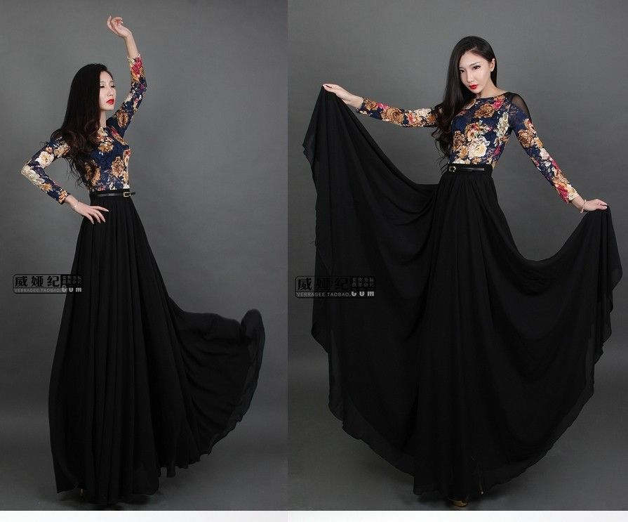 vintage floor length chiffon dresses