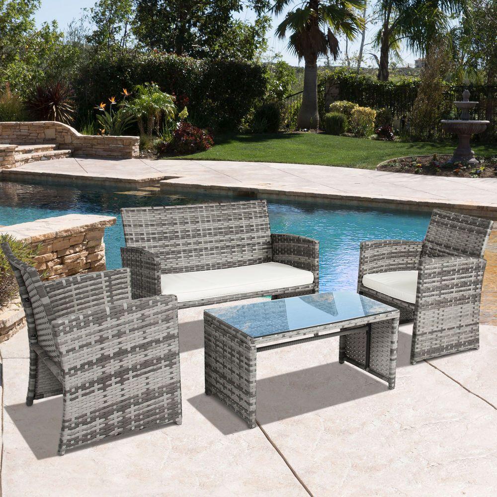 4 Piece Patio Wicker Set Outdoor Garden Gray Furniture Cushioned U0026 2 Seater  Sofa