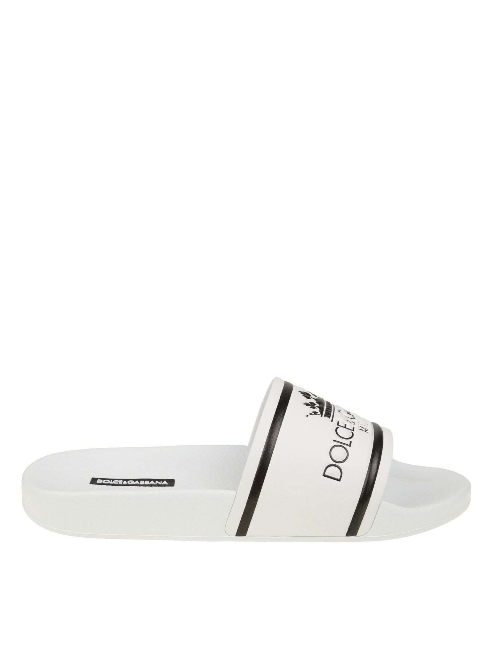d915060c8 DOLCE  amp  GABBANA RUBBER AND CALF WHITE SLIPPERS WITH LOGO.  dolcegabbana   shoes