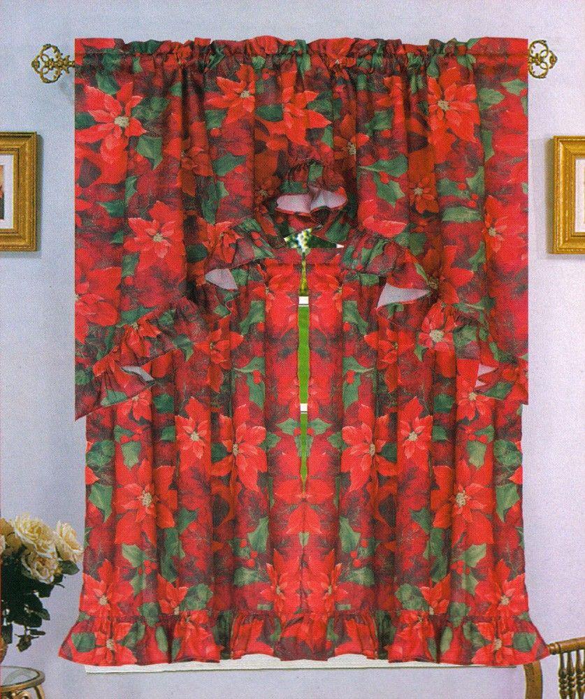 Piece kitchen curtain swag amp tiers set turquoise beige 60x36 amp 30x36 - Poinsettia Elegance Flower Kitchen Curtain Valance