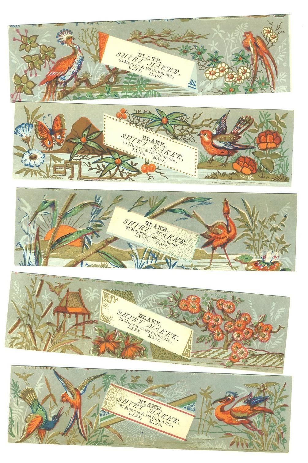 Victorian Trade Cards Super Set 5 Book Marks Cards Birds Oriental | eBay