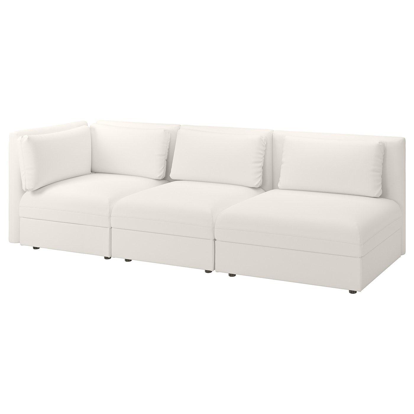 Vallentuna Sectional 3 Seat With Open End And Storage Murum White Flexible Furniture Modular Sofa Ikea