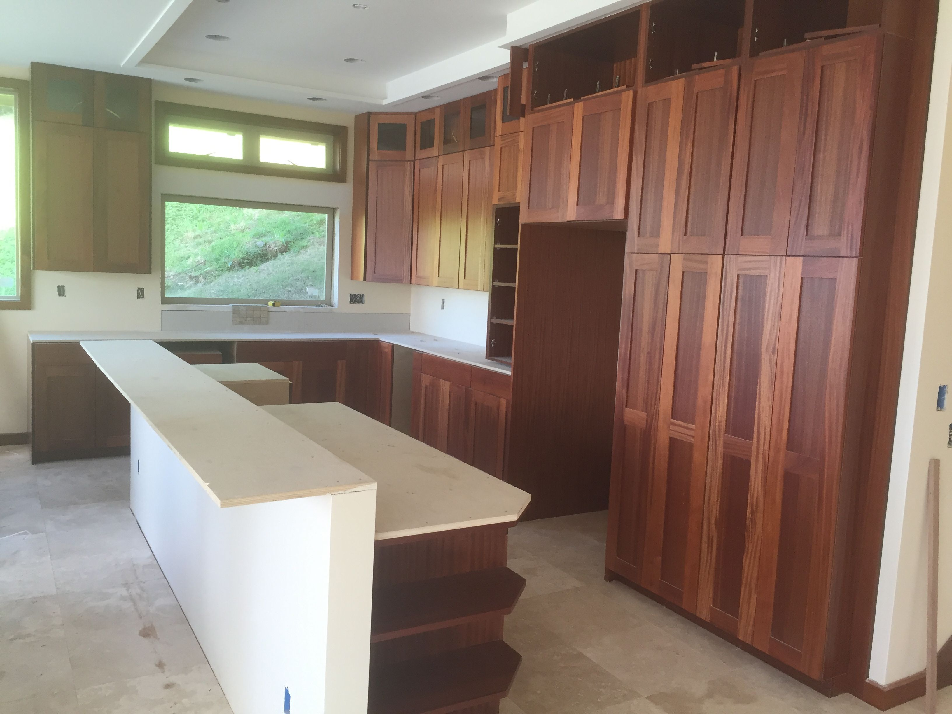 Hawaiian Islands · Kitchen Cabinets In Beautiful African Mahogany, Built By  Total Building Products. Countertops Going In