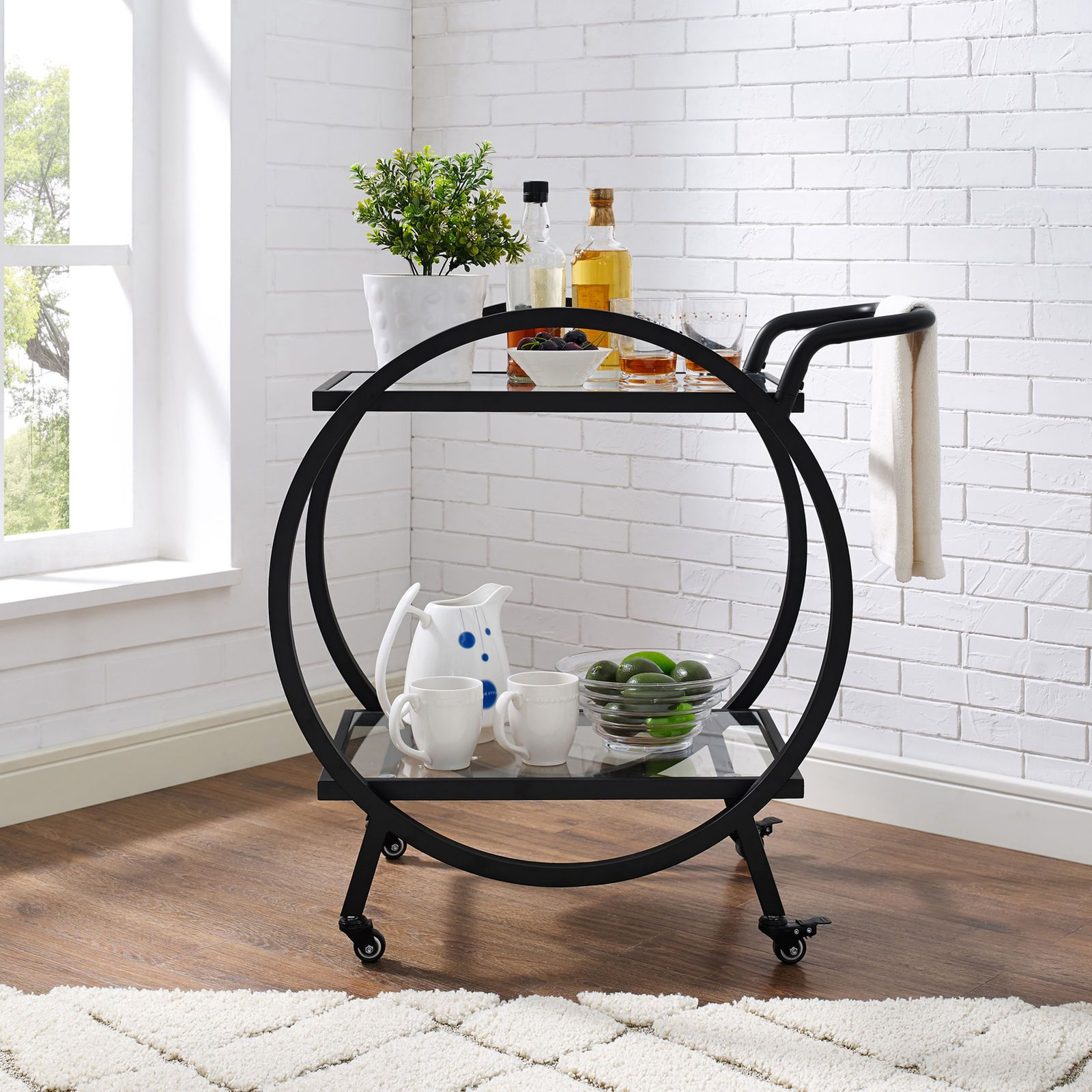 Black Round Frame Bar Cart - Pier 1 Imports