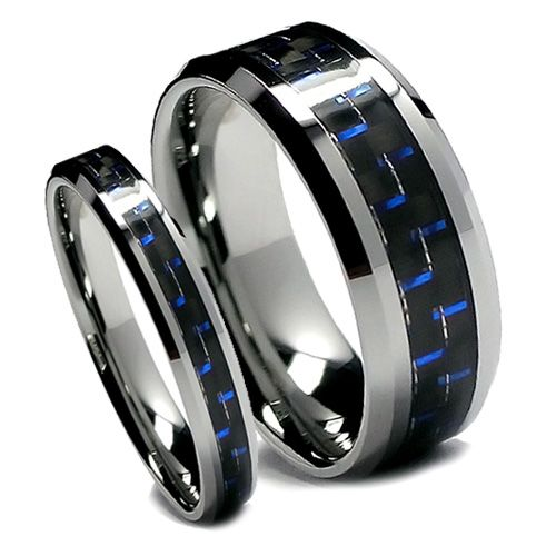 his and hers wedding bands three piece sets His and Hers Black