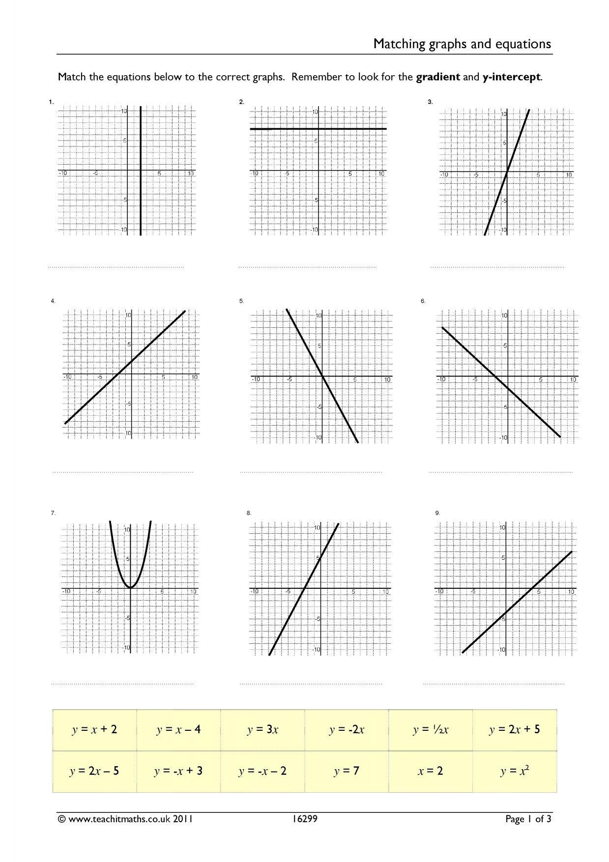 Graph Systems Of Equations Worksheet Matching Graphs And Linear Equations Differentiated W In 2020 Graphing Linear Equations Writing Equations Writing Linear Equations