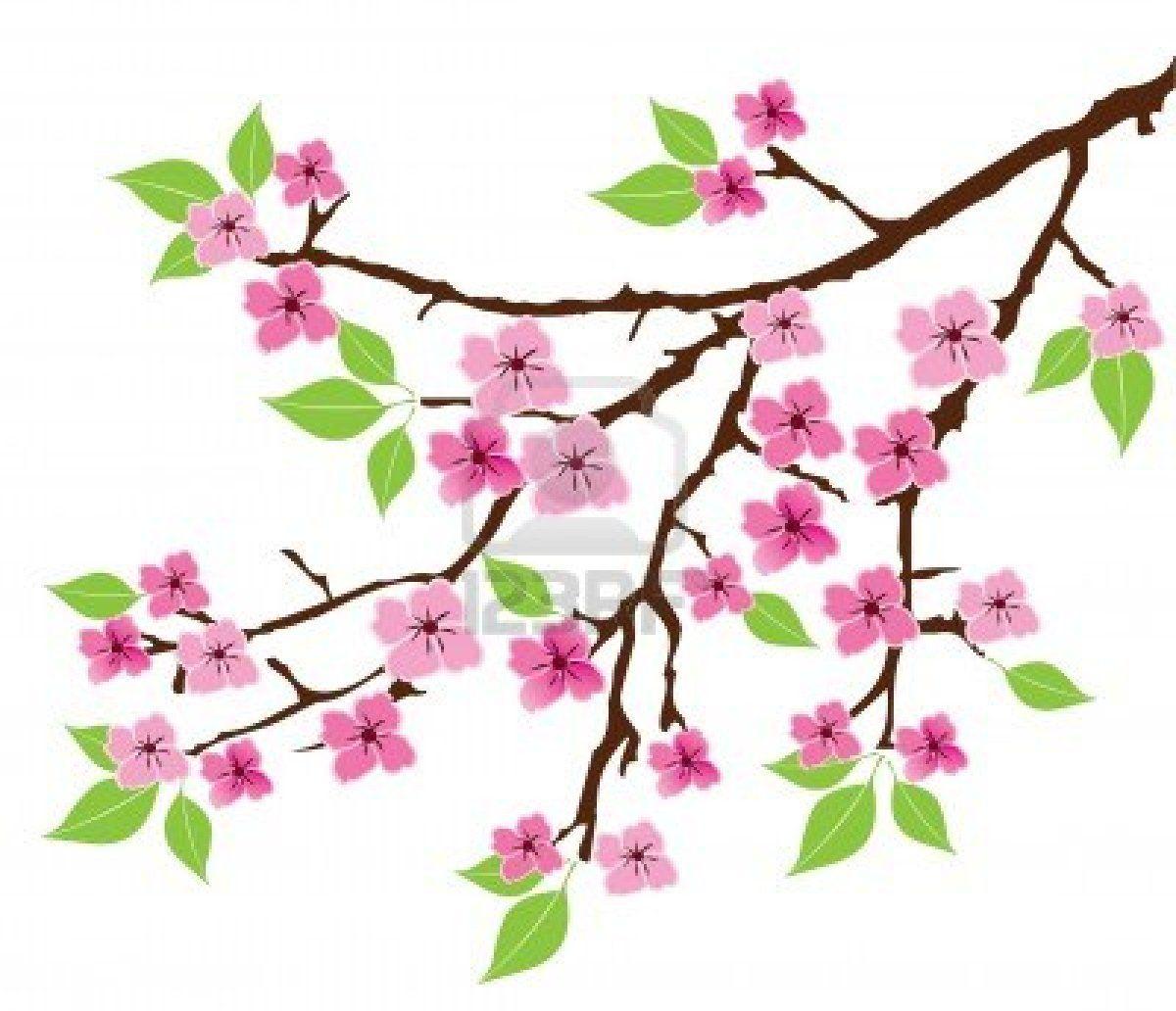 Vector de la rama del arbol con hojas y flores foto de - Ramas de arboles ...