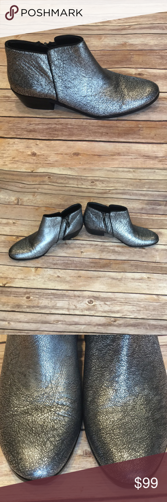 "ef501dd23f2926 SAM EDELMAN ""Petty"" metallic silver booties (9.5) Beautiful like new  condition booties"
