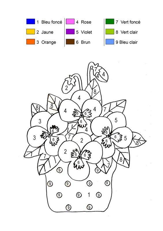 Coloriage De Printemps Primaire.Coloriage Magique Pot De Fleurs Printanier Ornamenty I