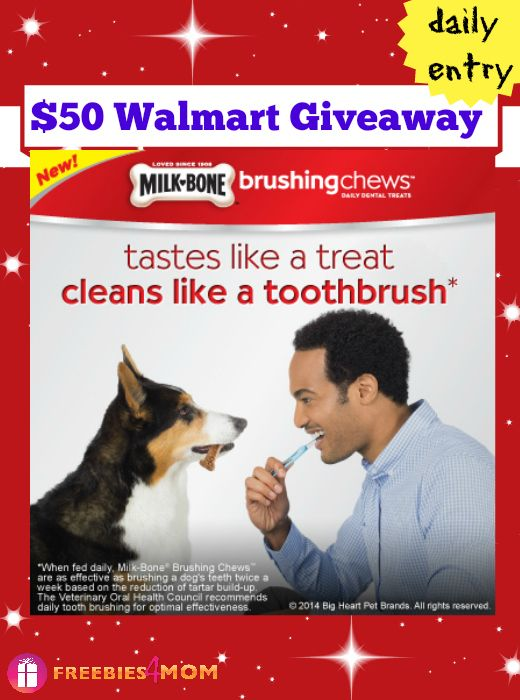 Want to win a $50 Walmart Gift Card!!! I'm spoiling you with this #GIVEAWAY from @MilkBone to help your dog #ChewsWisely - and have good dental health! ENTER DAILY thru August 10 http://freebies4mom.com/chewswisely  #ad