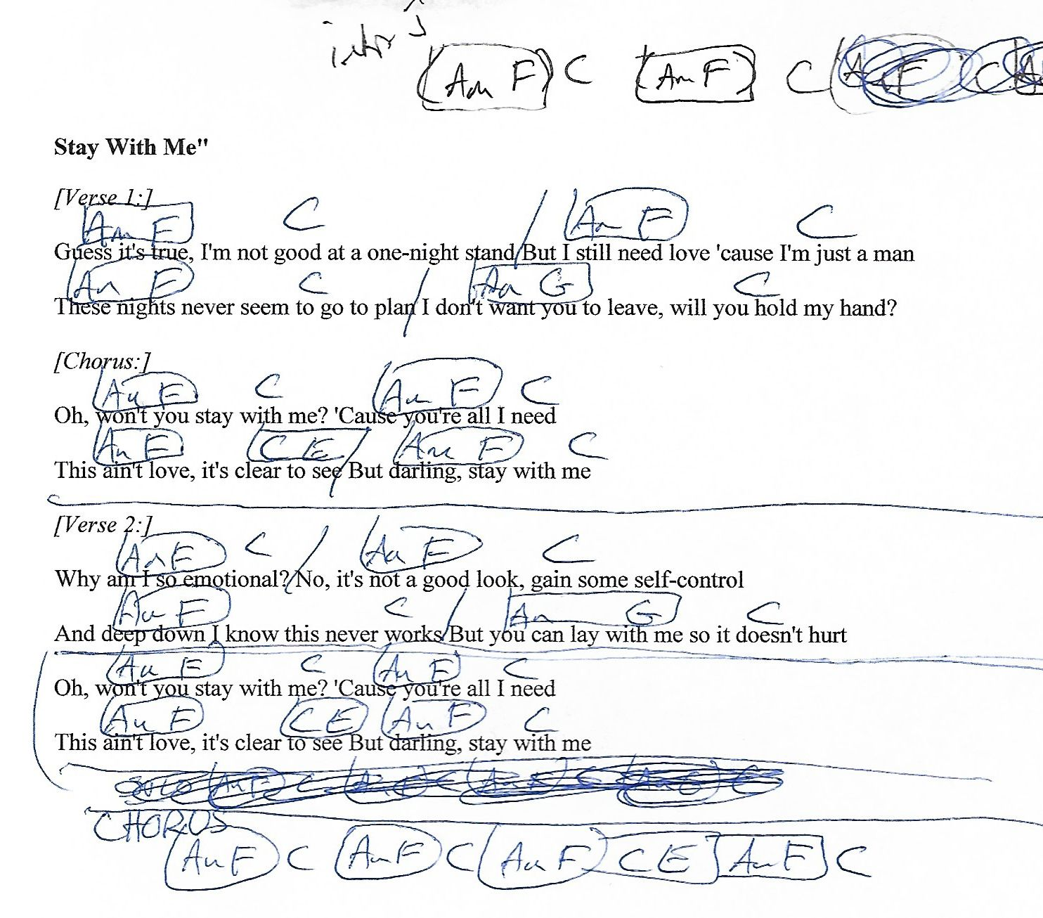 Stay With Me (Sam Smith) Guitar Chord Chart with Lyrics