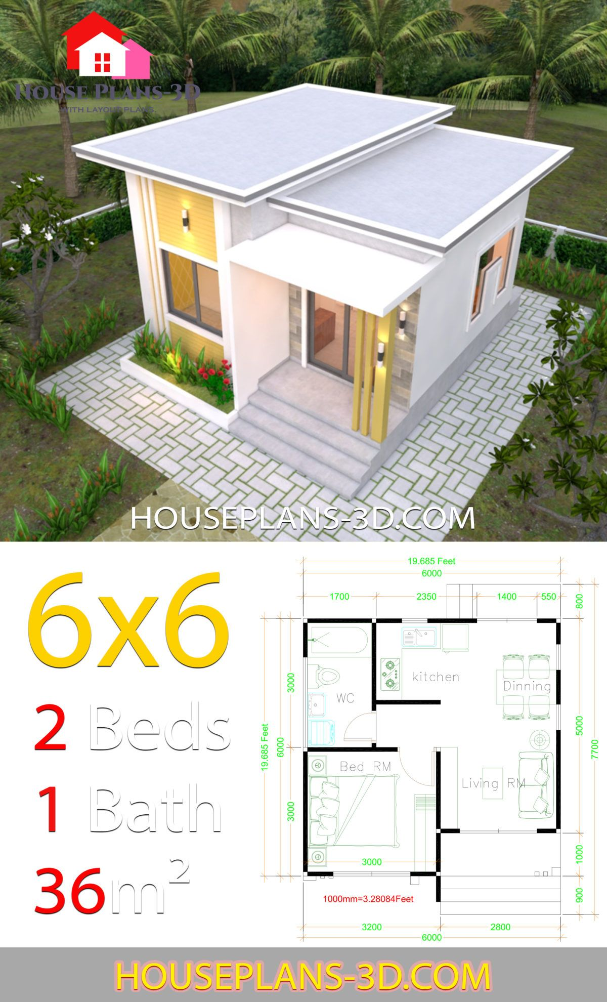 House Plans 6x6 With One Bedrooms Flat Roof House Plans 3d In 2020 Flat Roof House One Bedroom House Plans House Roof