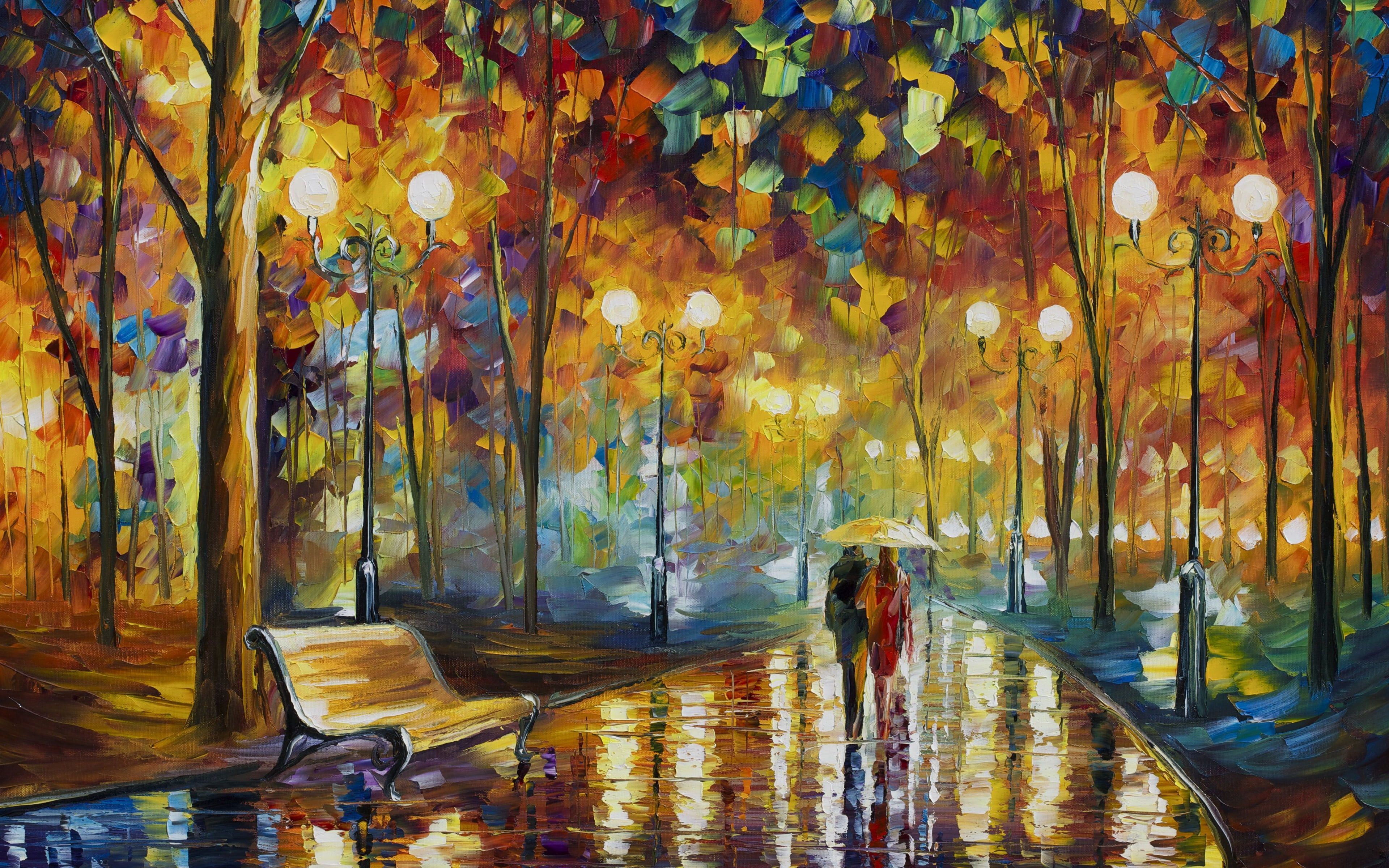 painting of couple walking on street surrounded with trees while holding umbrella Leonid Afremov