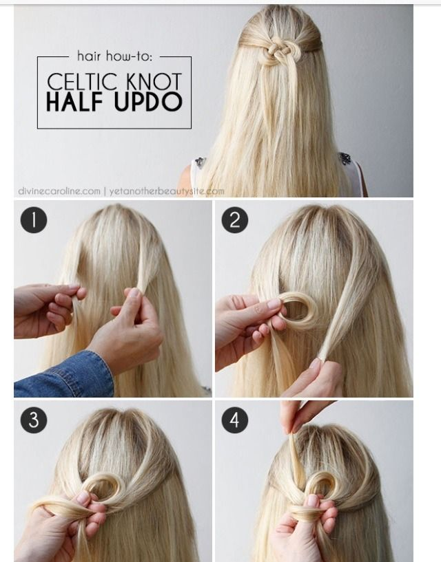 Celtic Knot Half Updo Hair Styles Half Updo Hair Knot Tutorial