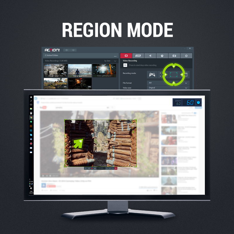 Mirillis Action! screen recorder and game recorder region