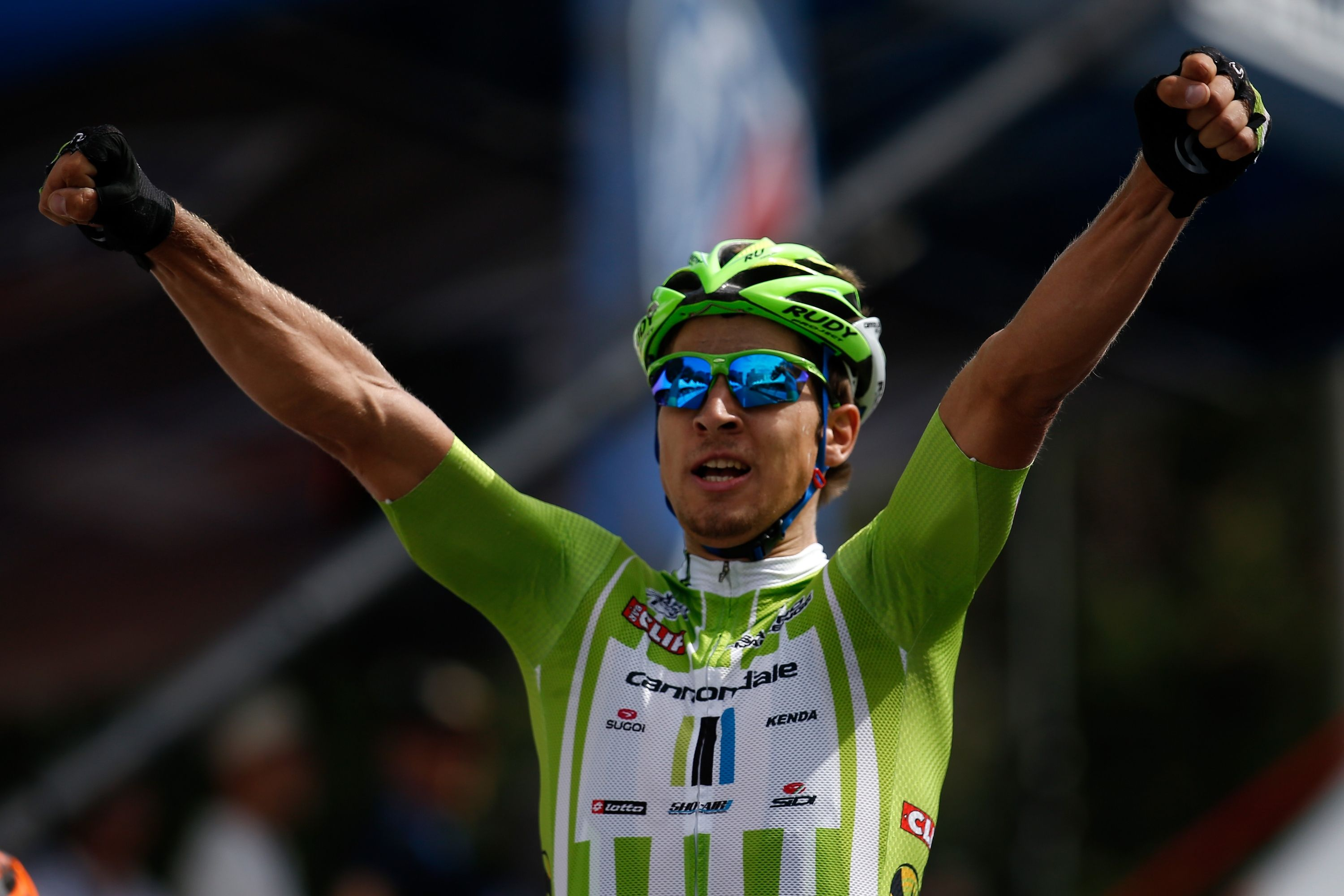 DENVER, CO - AUGUST 25: Peter Sagan of Slovakia and Cannondale Pro Cycling crosses the finish line to win stage seven of the 2013 USA Pro Challenge on August 25, 2013 in Denver, Colorado. (Photo by Chris Graythen/Getty Images)