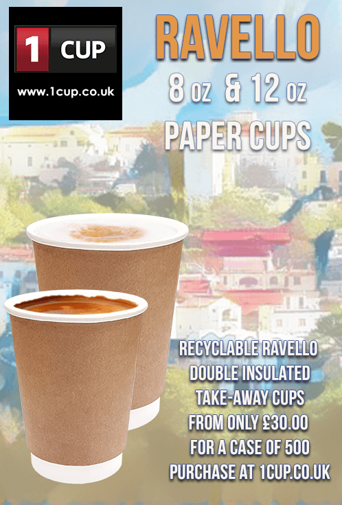 Take-away paper cups at £35 00 a case of 500  Ravello Paper cups are