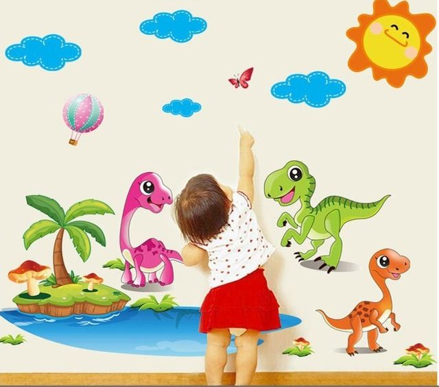Aliexpress Com Buy Cartoon Dinosaur Jungle Wall Stickers Decals