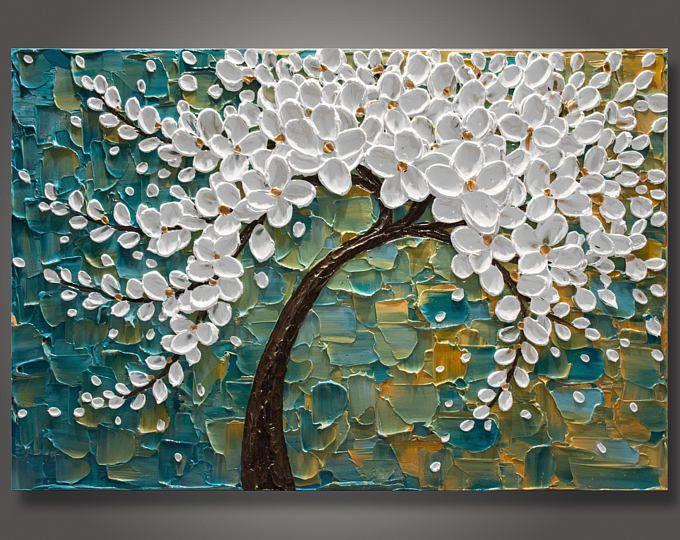grand 24 x 36 x1 5 original abstrait fleur arbre peinture couteau emp tement textur. Black Bedroom Furniture Sets. Home Design Ideas