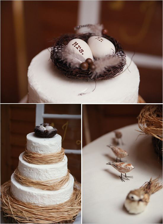 Creative bird's nest wedding cake!  We've got the dried floral materials you need to adorn this cake!  http://www.oldtimepottery.com/